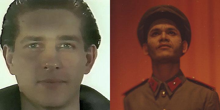 À gauche : Christian Dupont ⓒ W. Schroeter, 1985. À droite : Kuon Anann ⓒ Arno Lafontaine, 2013.Ce rôle a été interprété par Christian Dupont en 1985 puis par Kuon Anann en 2013.