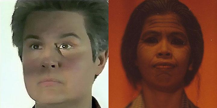 À gauche : Myriam Azencot ⓒ W. Schroeter, 1985. À droite : Nov Srey Leab ⓒ Arno Lafontaine, 2013.Ce rôle a été interprété par Myriam Azencot en 1985 puis par Nov Srey Leab en 2013.