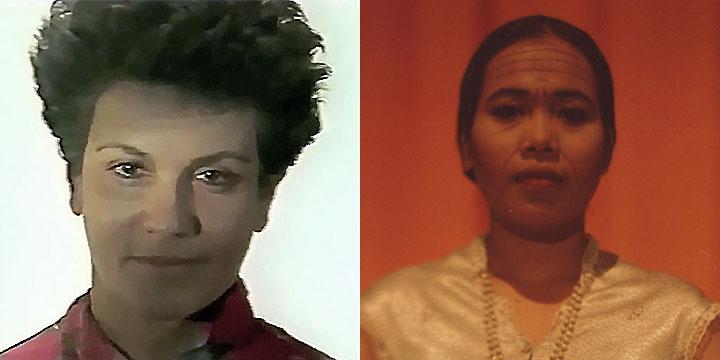 À gauche : Odile Cointepas ⓒ W. Schroeter, 1985. À droite : Horn Sophea ⓒ Arno Lafontaine, 2013. Rôle interprété par Odile Cointepas en 1985 puis par Horn Sophea en 2013.
