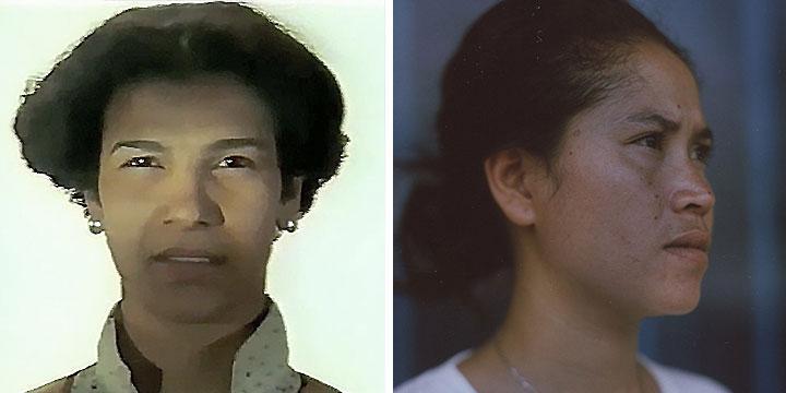 À gauche : Baya Belal ⓒ W. Schroeter, 1985. À droite : Chea Ravy ⓒ Michèle Laurent, 2013  Rôle interprété par Claire Rigollier, puis Baya Belal en 1985, et Chea Ravy en 2013.