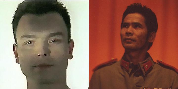 À gauche : Serge Poncelet ⓒ W. Schroeter, 1985. À droite : Sok Kring ⓒ Arno Lafontaine, 2013.Serge Poncelet en 1985 puis Sok Kring en 2013 ont incarné ce personnage.