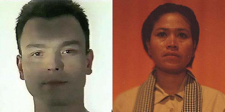 À gauche : Serge Poncelet ⓒ W. Schroeter, 1985. À droite : Chea Ravy ⓒ Arno Lafontaine, 2013. Ce rôle a été interprété par Serge Poncelet en 1985 puis par la comédienne Chea Ravy en 2013.
