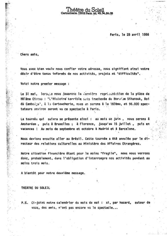 Lettre au Public, 28 avril 1986.