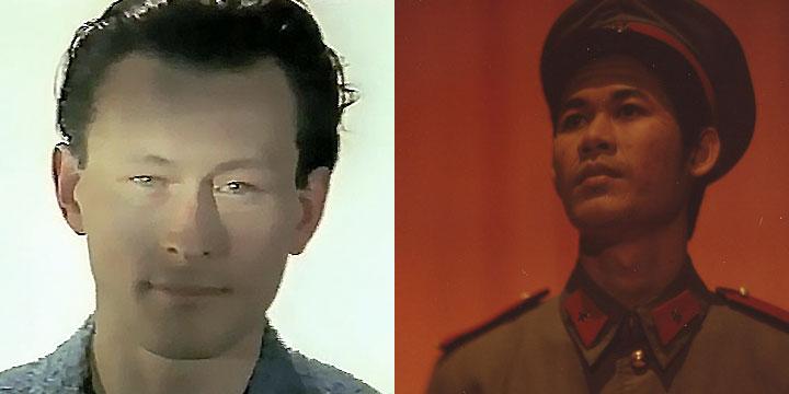 À gauche : Jean-François Dusigne ⓒ W. Schroeter, 1985. À droite : Chhit Boren ⓒ Arno Lafontaine, 2013.Ce rôle a été interprété par Jean-François Dusigne en 1985 puis par Chhit Boren en 2013.