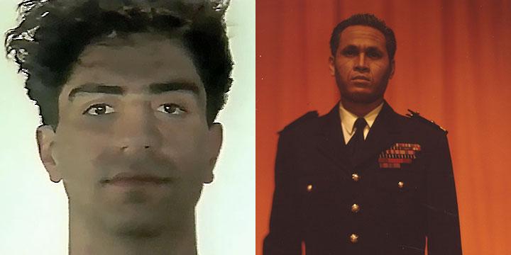 À gauche : Simon Abkarian ⓒ W. Schroeter, 1985. À droite : Preab Pouch ⓒ Arno Lafontaine, 2013.Ce rôle a été interprété par Simon Abkarian en 1985 puis par Preab Pouch en 2013.