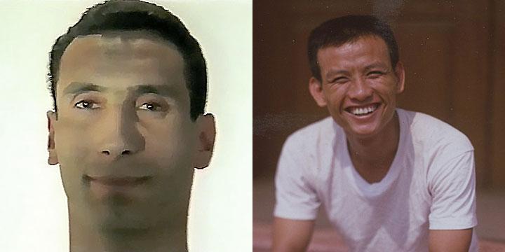À gauche : Zinedine Soualem ⓒ W. Schroeter, 1985. À droite : Khuonthan Chamroeun ⓒ Arno Lafontaine, 2013. Ce rôle a été interprété par Zinedine Soualem en 1985 puis par Khuonthan Chamroeun en 2013.