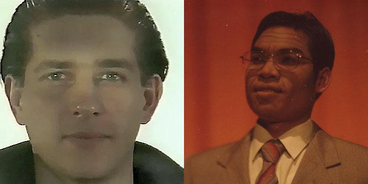 À gauche : Christian Dupont ⓒ W. Schroeter, 1985. À droite : Huot Hoeurn ⓒ Arno Lafontaine, 2013.Ce rôle a été interprété par Christian Dupont en 1985 puis par Huot Hoeurn en 2013
