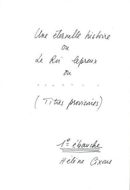 Archives déposées à la BnF, Fonds H. Cixous.