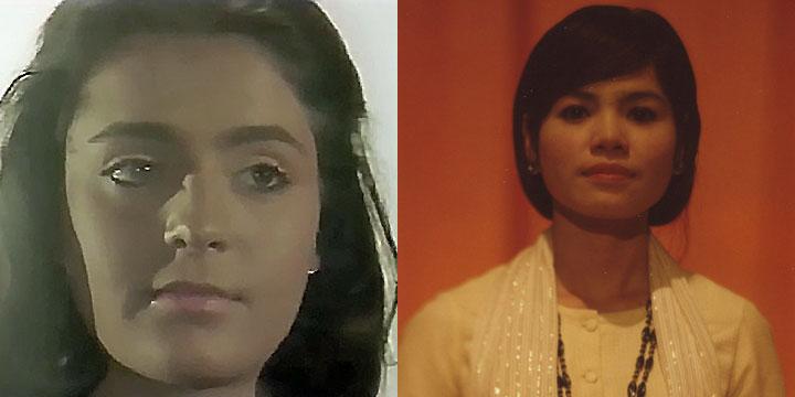 À gauche : Sophie Piollet ⓒ W. Schroeter, 1985. À droite : Pov Thynitra ⓒ Arno Lafontaine, 2013. Rôle interprété par Hélène Cinque puis Sophie Piollet en 1985 et par la comédienne Pov Thynitra en 2013.