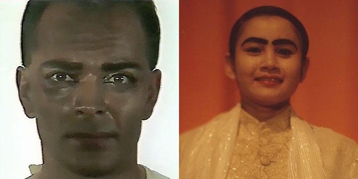À gauche : Georges Bigot ⓒ W. Schroeter, 1985. À droite : San Marady ⓒ Arno Lafontaine, 2013. Le rôle a été interprété par Georges Bigot en 1985, qui a signé avec Delphine Cottu la mise en scène de la recréation en 2013.L'actrice cambodgienne San Marady tient le rôle en 2013.