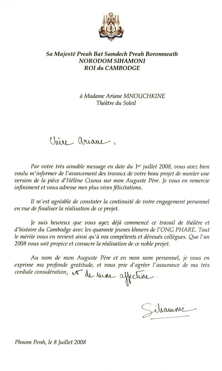 Lettre de Norodom Sihamoni, 2008.