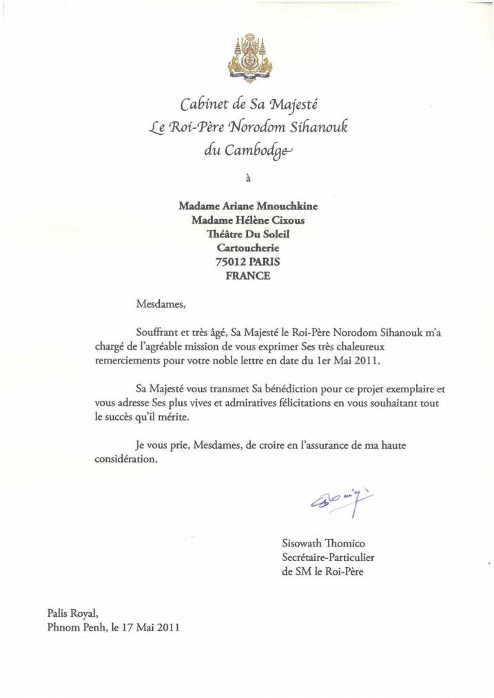 Lettre de Norodom Sihanouk, 2011.